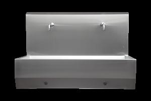 Sensor-operated gutter-like wash-basin